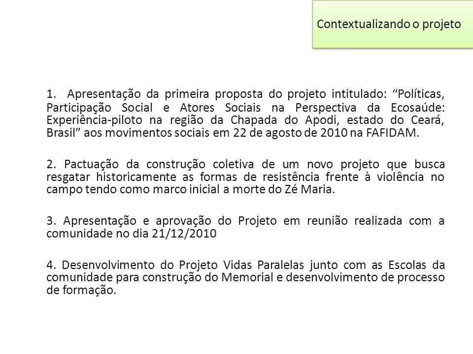 """Contextualizando o projeto 1. Apresentação da primeira proposta do projeto intitulado: """"Políticas, Participação Social e Atores Sociais na Perspectiva"""