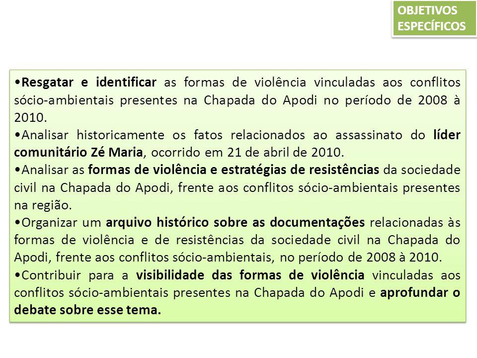 METODOLOGIA - TIPO DE PESQUISA: DOCUMENTAL -PERÍODO: 2008 – 2010 -COLETA DE DADOS: DOCUMENTOS PÚBLICOS E PRIVADOS - FONTE S DE INFORMAÇÃO INICIAIS: Cáritas, Diocese de Limoeira, Movimento dos Trabalhadores Rurais Sem Terra (MST), Sindicato dos Trabalhadores Rurais de Limoeiro do Norte, Conlutas, Faculdade de Filosofia Dom Aureliano Matos, arquivos da pesquisa Estudo Epidemiológico da População da região do Baixo Jaguaribe exposta à Contaminação Ambiental em Área de Uso de Agrotóxicos da Universidade Federal do Ceará, Ministério Público Federal e Estadual, Delegacia de Polícia de Limoeiro do Norte, Rádio Educadora Jaguaribana, Rádio Vale do Jaguaribe, Jornal Diário do Nordeste, TV Jaguar, TV UFC, TV Verdes Mares e Jangadeiro.