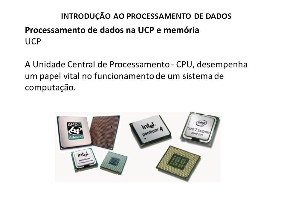 Processamento de dados na UCP e memória UCP O processador é o componente vital do sistema de Computação ele é responsável pela realização das operações de processamento (os cálculos matemáticos etc.).