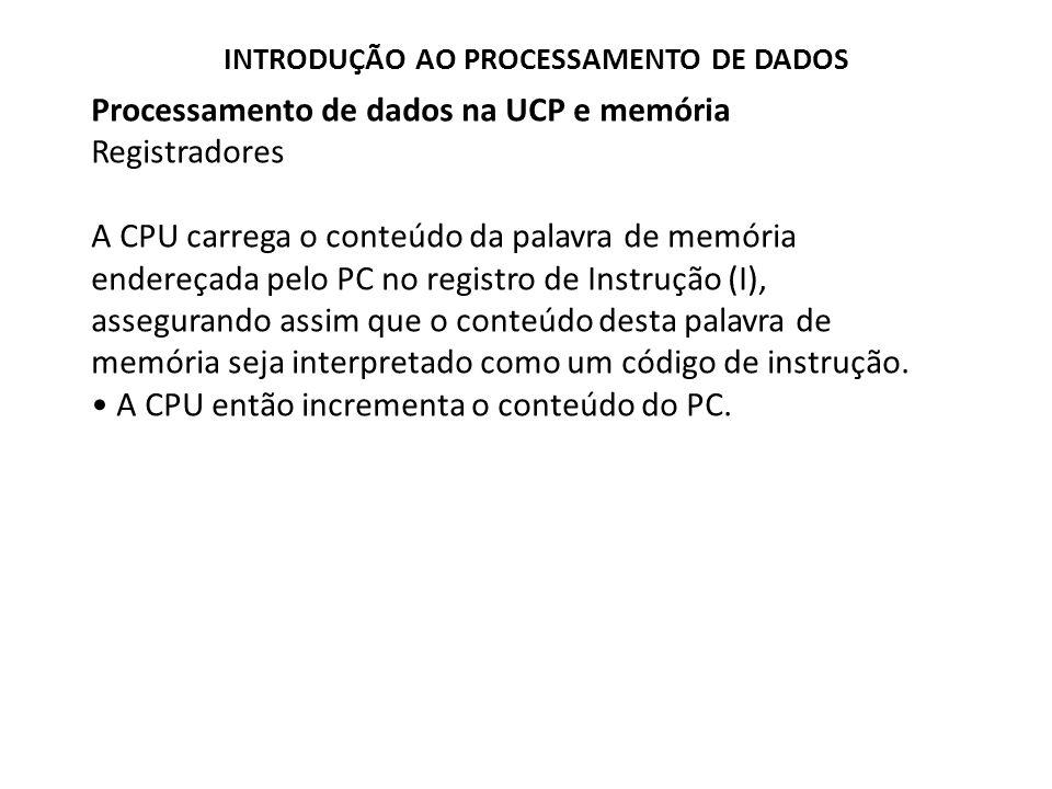 Processamento de dados na UCP e memória Registradores A CPU carrega o conteúdo da palavra de memória endereçada pelo PC no registro de Instrução (I),