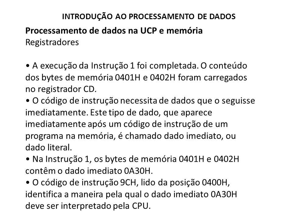 Processamento de dados na UCP e memória Registradores A execução da Instrução 1 foi completada. O conteúdo dos bytes de memória 0401H e 0402H foram ca