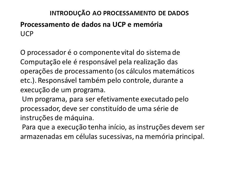 Processamento de dados na UCP e memória UCP Composição da UCP Formada basicamente por um conjunto de registradores Armazenam dados e instrução correntes.