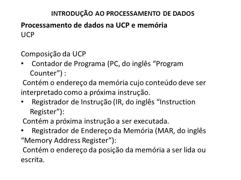 Processamento de dados na UCP e memória Registradores A CPU carrega o conteúdo da palavra de memória endereçada pelo PC no registro de Instrução (I), assegurando assim que o conteúdo desta palavra de memória seja interpretado como um código de instrução.