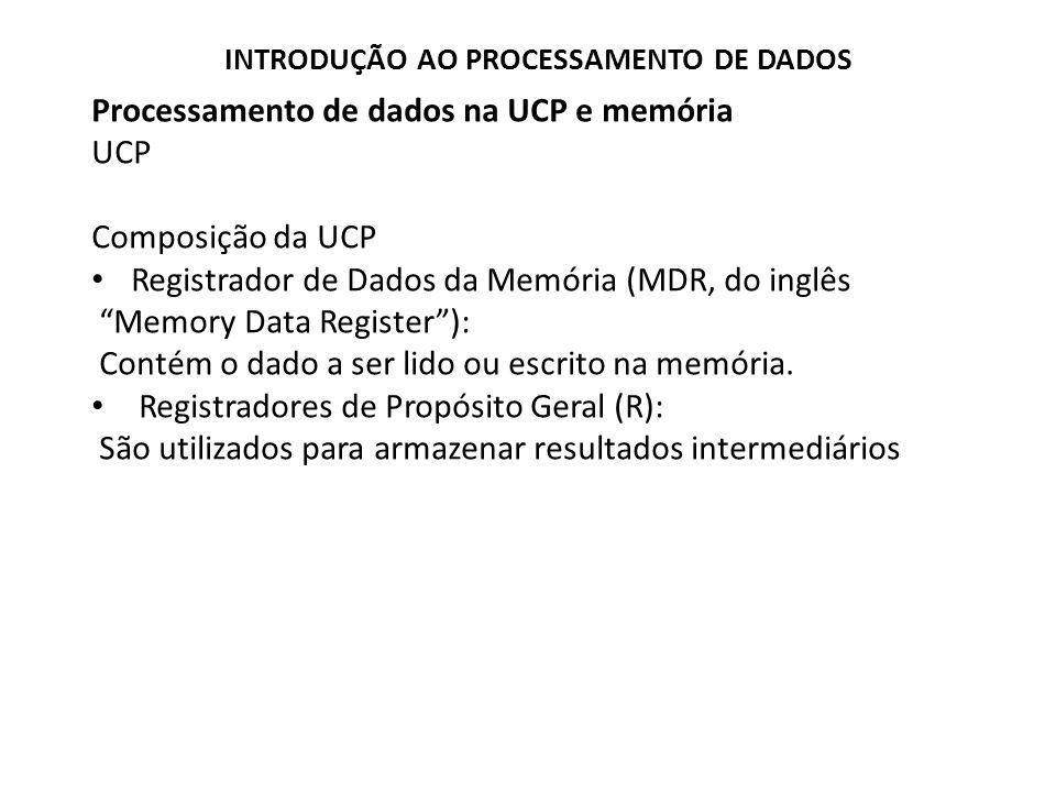 Processamento de dados na UCP e memória UCP Funções da UCP Buscar uma instrução na memória Decodificar a operação Buscar os dados Executar a operação com o(s) dado(s) Guardar o resultado Reiniciar o processo INTRODUÇÃO AO PROCESSAMENTO DE DADOS