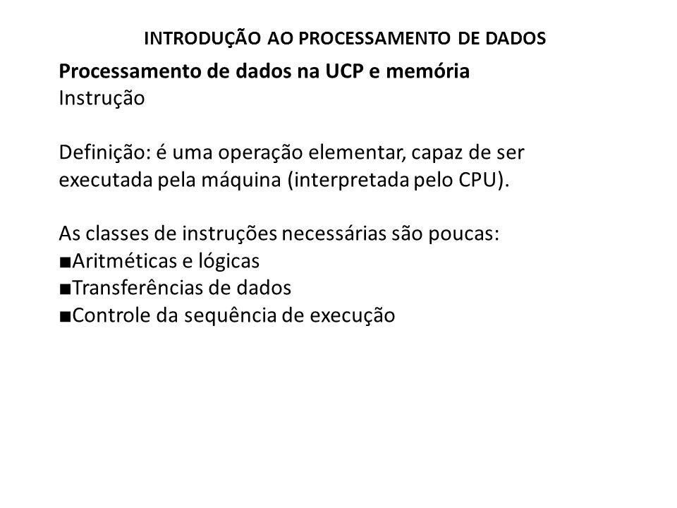 Processamento de dados na UCP e memória Instrução Definição: é uma operação elementar, capaz de ser executada pela máquina (interpretada pelo CPU). As