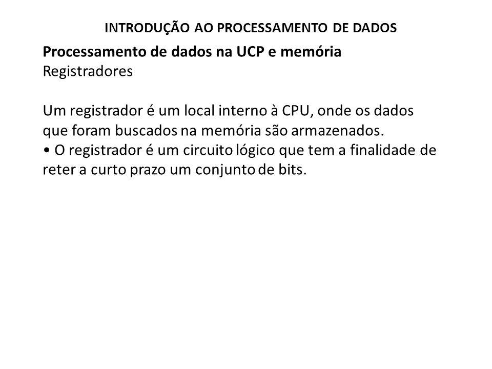 Processamento de dados na UCP e memória Registradores Contador de Dados (CD) Para podermos acessar uma palavra de dados da memória (tanto para ler seu conteúdo, como para armazenar dados dentro dela), precisamos identificar seu endereço.