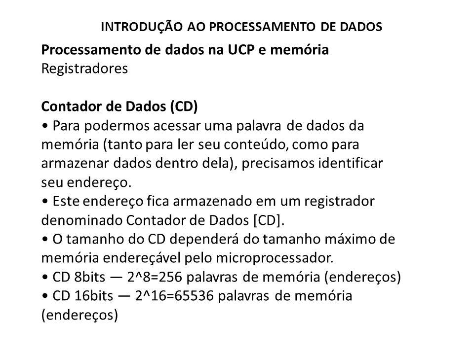 Processamento de dados na UCP e memória Registradores Contador de Dados (CD) Para podermos acessar uma palavra de dados da memória (tanto para ler seu
