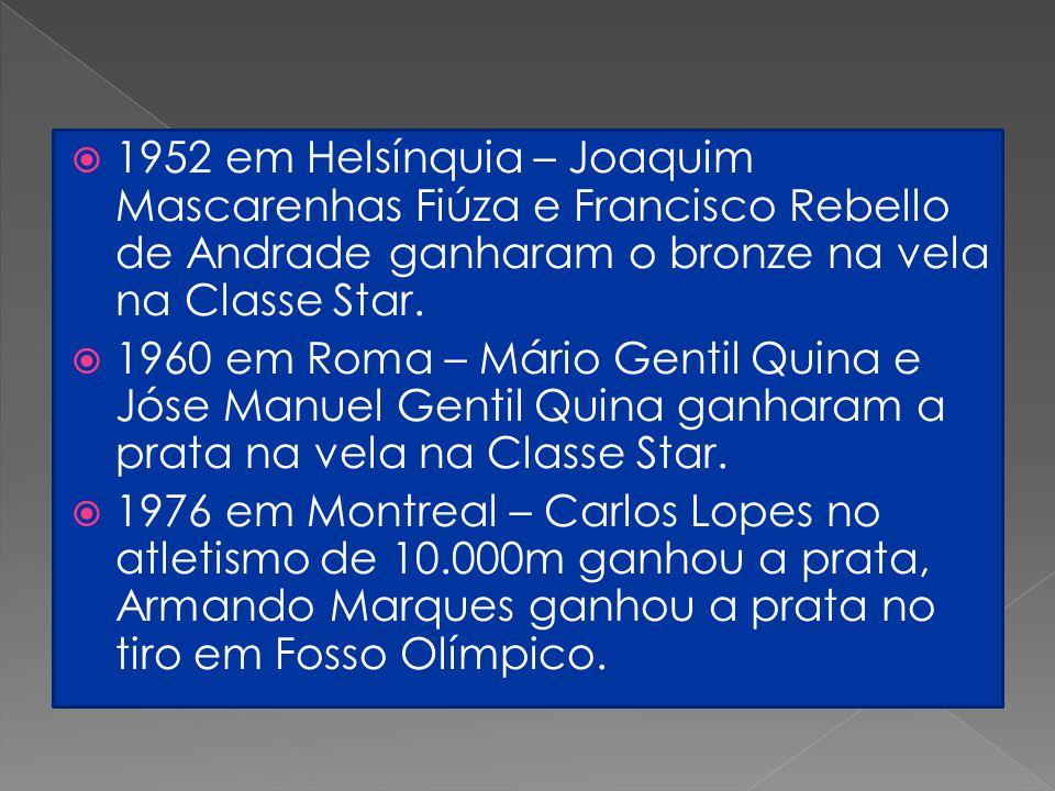  1952 em Helsínquia – Joaquim Mascarenhas Fiúza e Francisco Rebello de Andrade ganharam o bronze na vela na Classe Star.