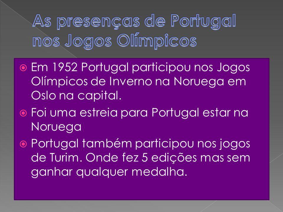  Em 1952 Portugal participou nos Jogos Olímpicos de Inverno na Noruega em Oslo na capital.  Foi uma estreia para Portugal estar na Noruega  Portuga