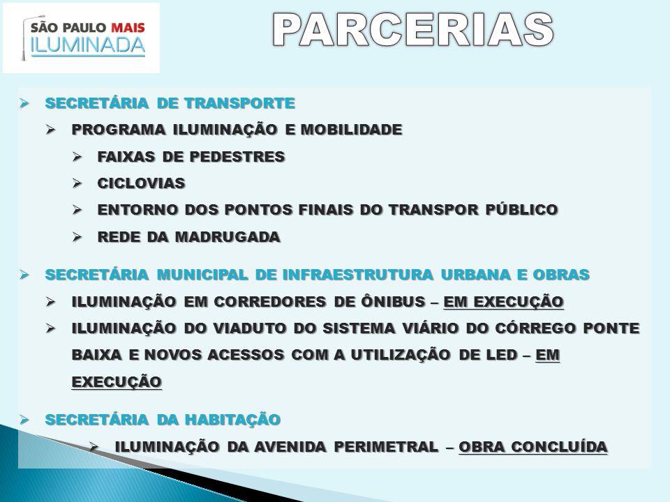  SECRETÁRIA DE TRANSPORTE  PROGRAMA ILUMINAÇÃO E MOBILIDADE  FAIXAS DE PEDESTRES  CICLOVIAS  ENTORNO DOS PONTOS FINAIS DO TRANSPOR PÚBLICO  REDE DA MADRUGADA  SECRETÁRIA MUNICIPAL DE INFRAESTRUTURA URBANA E OBRAS  ILUMINAÇÃO EM CORREDORES DE ÔNIBUS – EM EXECUÇÃO  ILUMINAÇÃO DO VIADUTO DO SISTEMA VIÁRIO DO CÓRREGO PONTE BAIXA E NOVOS ACESSOS COM A UTILIZAÇÃO DE LED – EM EXECUÇÃO  SECRETÁRIA DA HABITAÇÃO  ILUMINAÇÃO DA AVENIDA PERIMETRAL – OBRA CONCLUÍDA