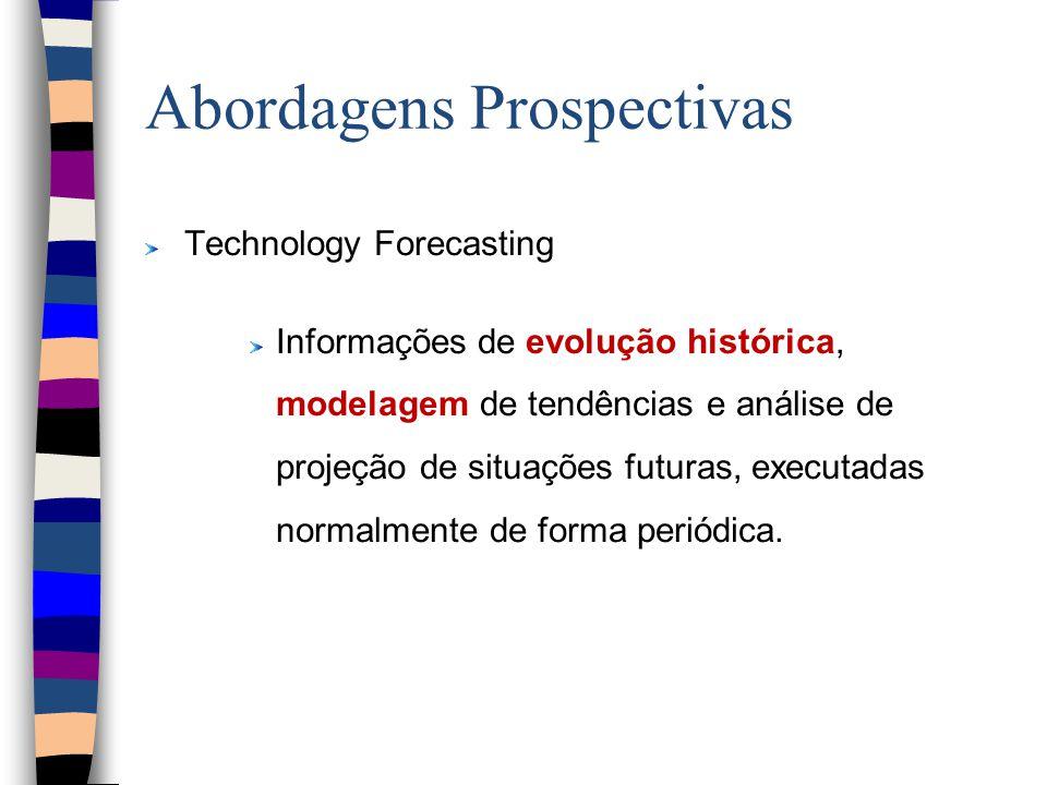 Abordagens Prospectivas Technology Forecasting Informações de evolução histórica, modelagem de tendências e análise de projeção de situações futuras, executadas normalmente de forma periódica.