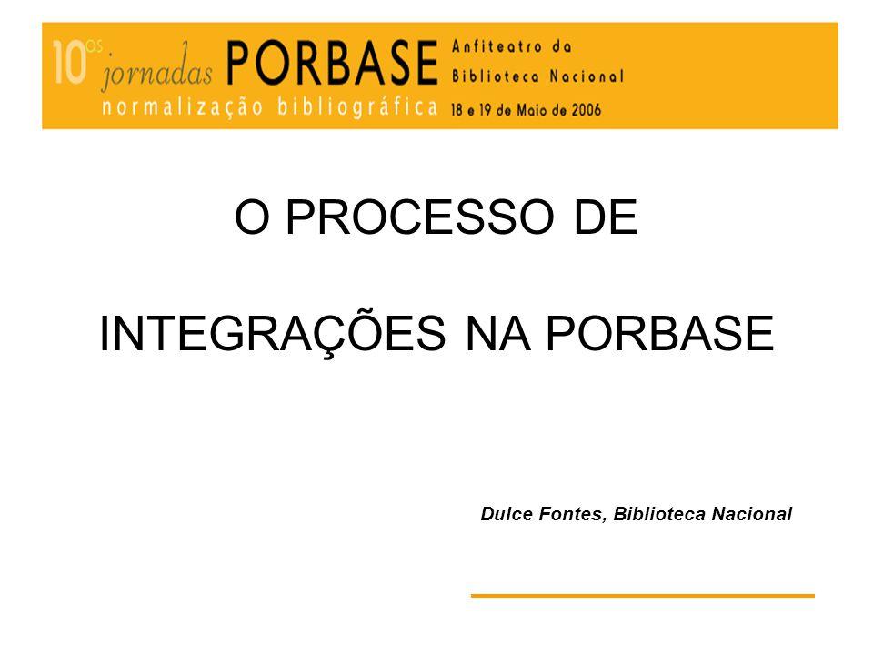 O processo de integrações na PORBASE Dá origem a 2 lotes de registos: Aplicação do filtro de nível mínimo (através da ferramenta MANGAS) 1.Registos novos que não correspondem ao nível mínimo 2.Registos novos que correspondem ao nível mínimo os registos que correspondem ao nível mínimo são integrados na PORBASE
