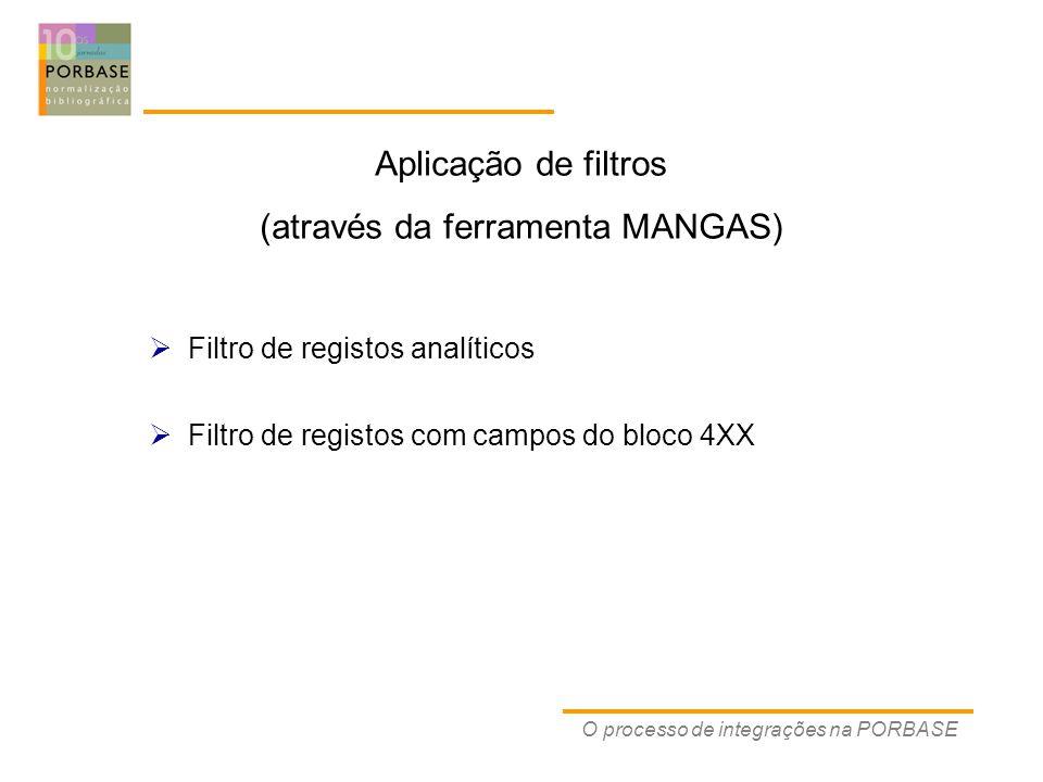 O processo de integrações na PORBASE  Filtro de registos analíticos  Filtro de registos com campos do bloco 4XX Aplicação de filtros (através da ferramenta MANGAS)
