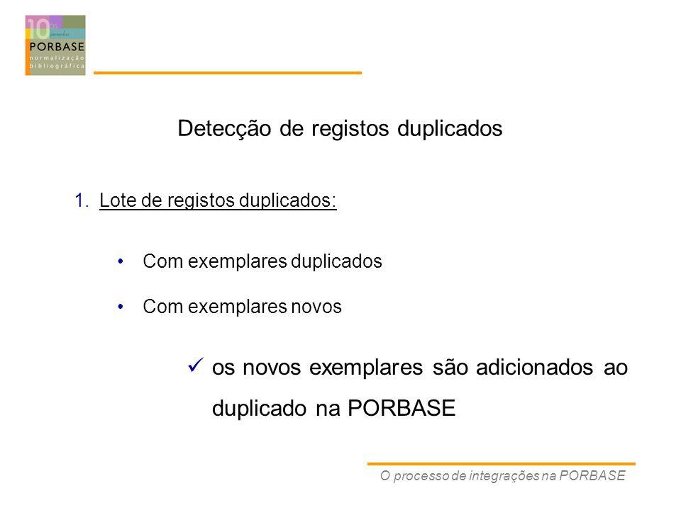 O processo de integrações na PORBASE Detecção de registos duplicados Com exemplares duplicados Com exemplares novos 1.Lote de registos duplicados: os novos exemplares são adicionados ao duplicado na PORBASE