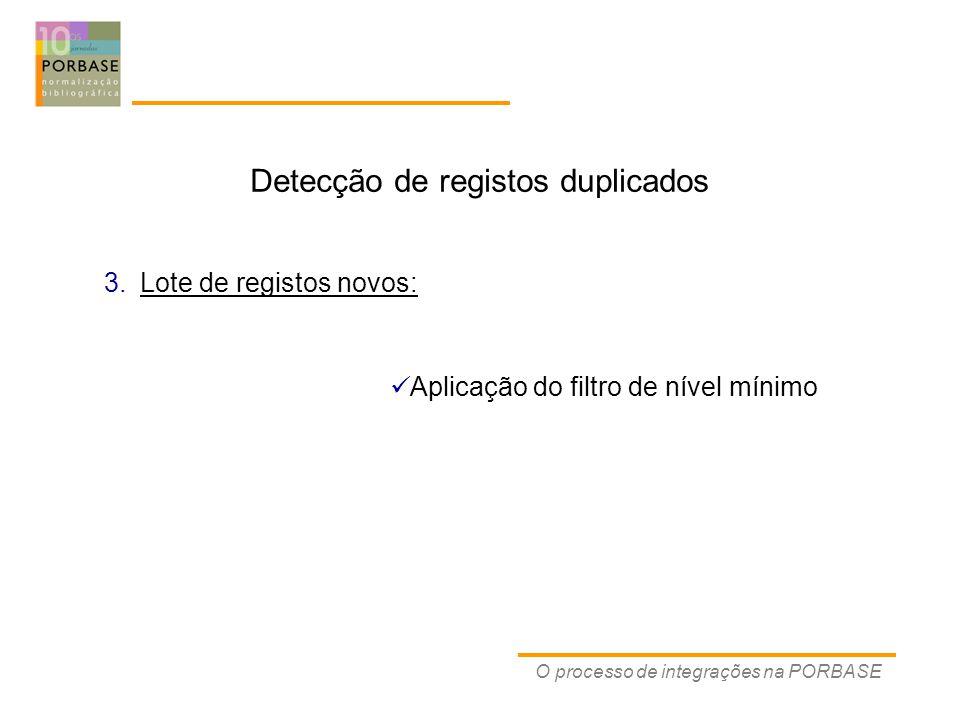 O processo de integrações na PORBASE Detecção de registos duplicados Aplicação do filtro de nível mínimo 3.Lote de registos novos:
