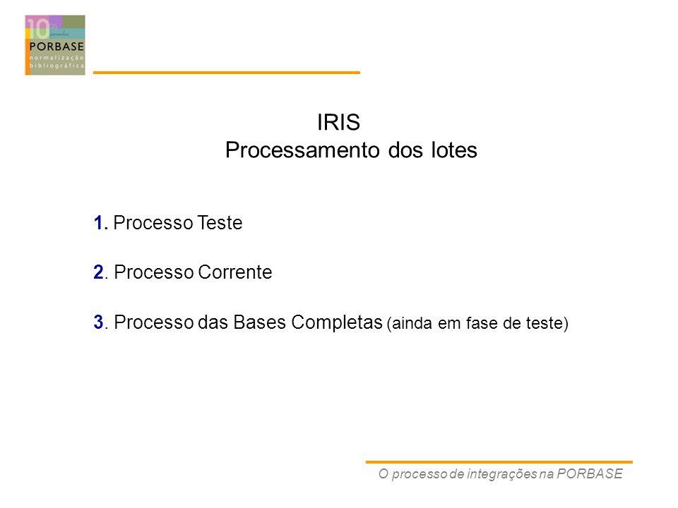 O processo de integrações na PORBASE IRIS Processamento dos lotes 1.