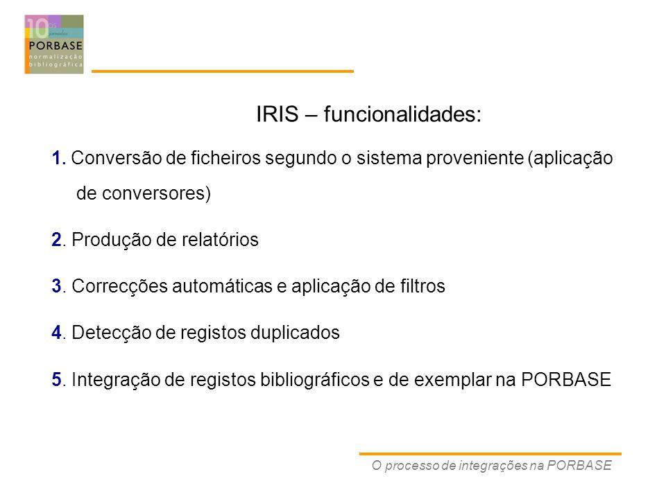 IRIS – funcionalidades: 1.