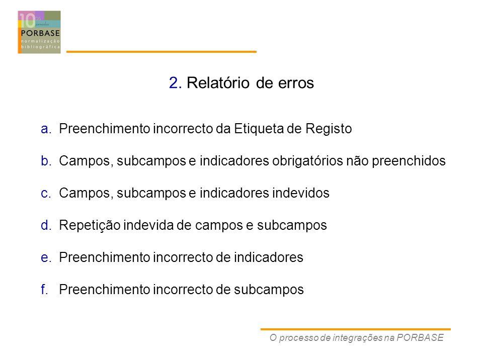 2. Relatório de erros O processo de integrações na PORBASE a.Preenchimento incorrecto da Etiqueta de Registo b.Campos, subcampos e indicadores obrigat