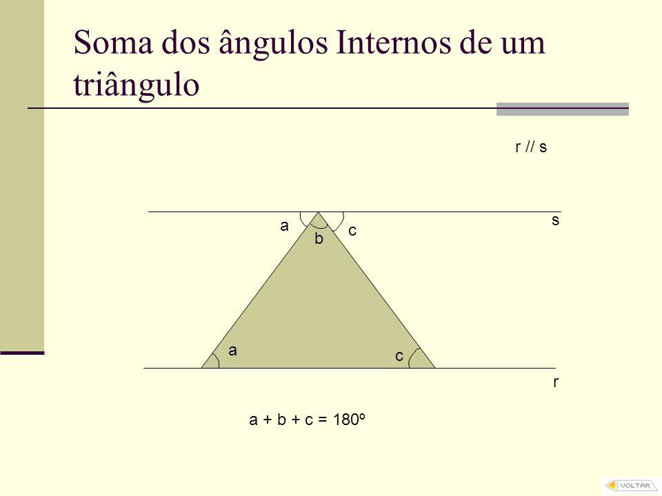 Soma dos ângulos Internos de um triângulo r s r // s b a c c a a + b + c = 180º