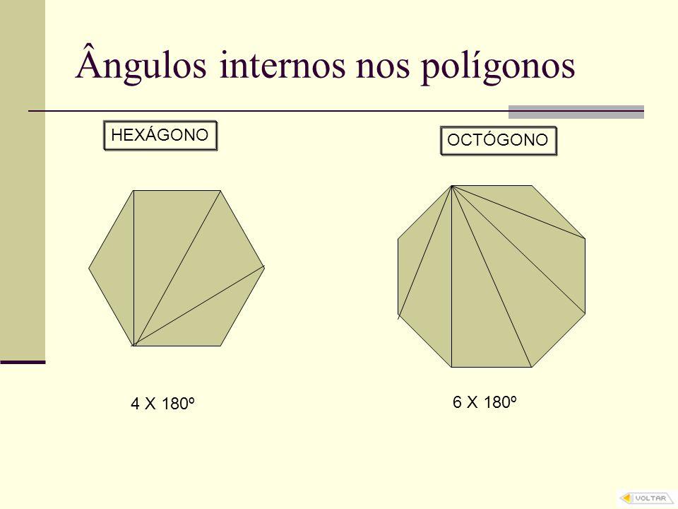 Ângulos internos nos polígonos HEXÁGONO 4 X 180º OCTÓGONO 6 X 180º