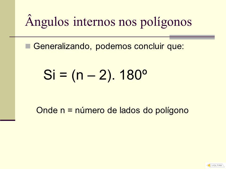 Ângulos internos nos polígonos Generalizando, podemos concluir que: Si = (n – 2). 180º Onde n = número de lados do polígono