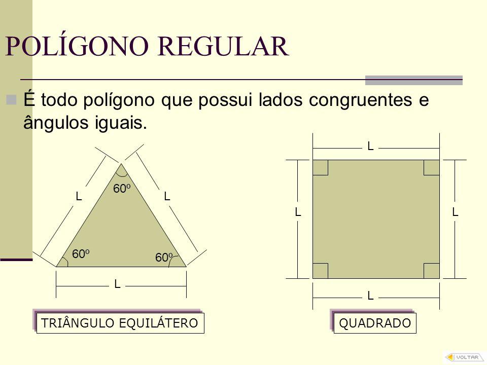 POLÍGONO REGULAR É todo polígono que possui lados congruentes e ângulos iguais. L TRIÂNGULO EQUILÁTERO LL 60º L L LL QUADRADO