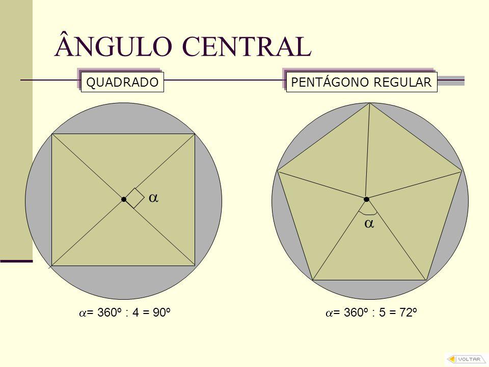 ÂNGULO CENTRAL  = 360º : 4 = 90º QUADRADO  = 360º : 5 = 72º PENTÁGONO REGULAR  
