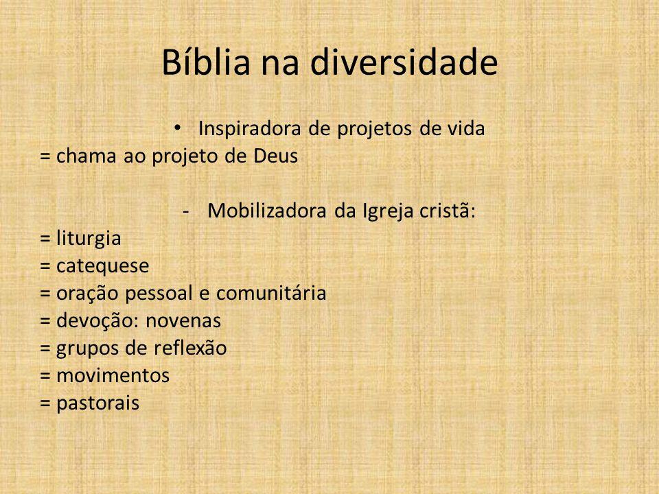 Bíblia na diversidade Inspiradora de projetos de vida = chama ao projeto de Deus -Mobilizadora da Igreja cristã: = liturgia = catequese = oração pesso