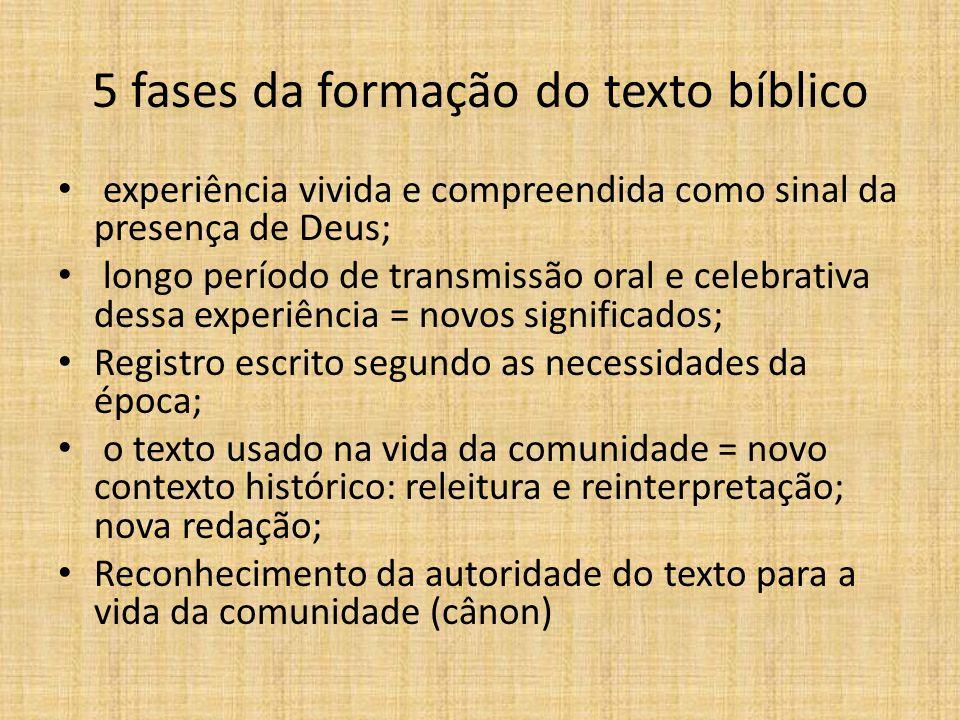 5 fases da formação do texto bíblico experiência vivida e compreendida como sinal da presença de Deus; longo período de transmissão oral e celebrativa