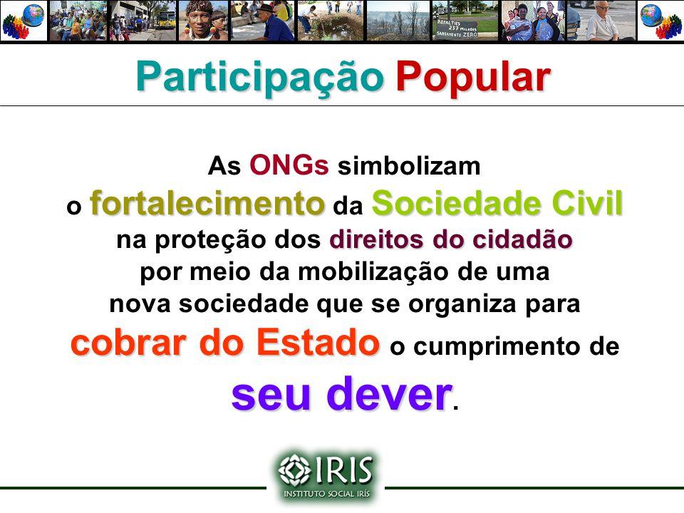 As ONGs simbolizam fortalecimentoSociedade Civil o fortalecimento da Sociedade Civil direitos do cidadão na proteção dos direitos do cidadão por meio