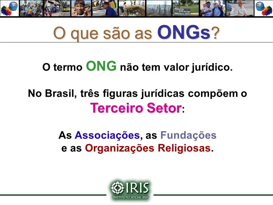O que são as ONGs ? O termo ONG não tem valor jurídico. Terceiro Setor No Brasil, três figuras jurídicas compõem o Terceiro Setor : As Associações, as