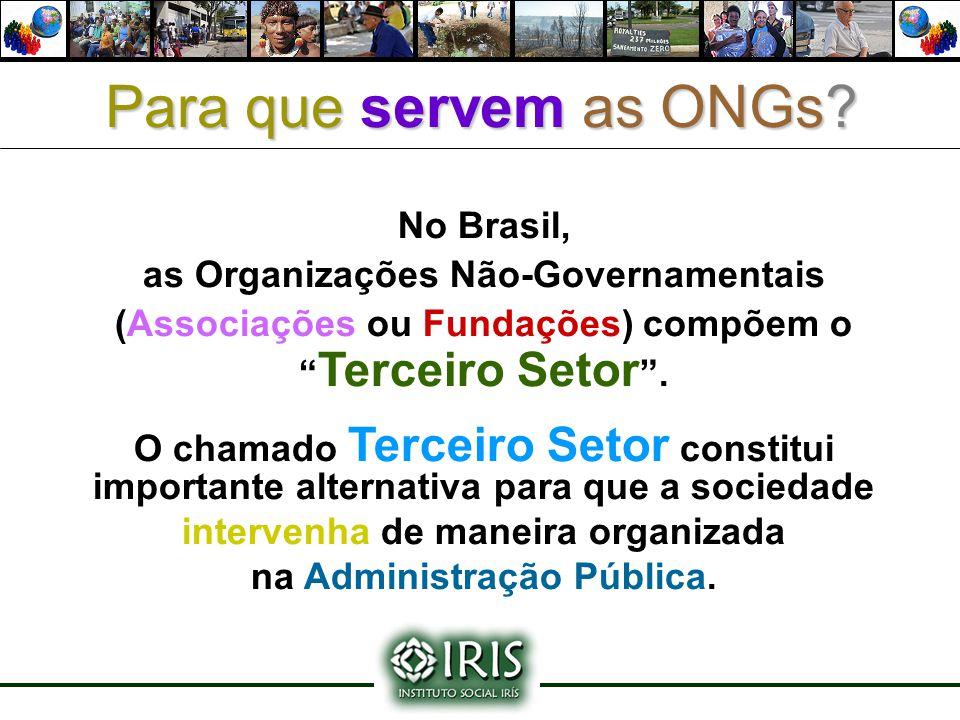 """No Brasil, as Organizações Não-Governamentais (Associações ou Fundações) compõem o """" Terceiro Setor """". O chamado Terceiro Setor constitui importante a"""