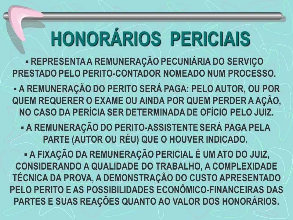 HONORÁRIOS PERICIAIS  REPRESENTA A REMUNERAÇÃO PECUNIÁRIA DO SERVIÇO PRESTADO PELO PERITO-CONTADOR NOMEADO NUM PROCESSO.  A REMUNERAÇÃO DO PERITO SE