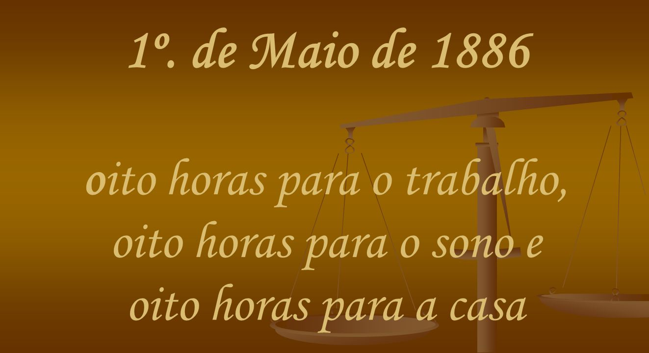 1º. de Maio de 1886 oito horas para o trabalho, oito horas para o sono e oito horas para a casa