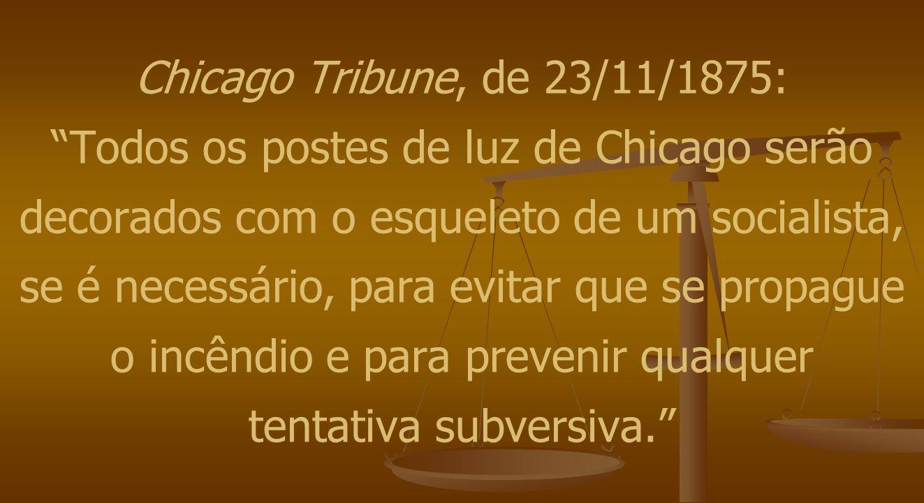 """Chicago Tribune, de 23/11/1875: """"Todos os postes de luz de Chicago serão decorados com o esqueleto de um socialista, se é necessário, para evitar que"""