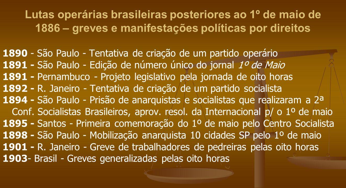 Lutas operárias brasileiras posteriores ao 1º de maio de 1886 – greves e manifestações políticas por direitos 1890 - São Paulo - Tentativa de criação