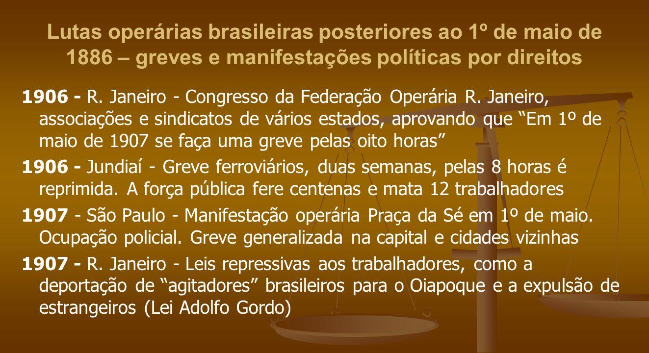 Lutas operárias brasileiras posteriores ao 1º de maio de 1886 – greves e manifestações políticas por direitos 1906 - R. Janeiro - Congresso da Federaç