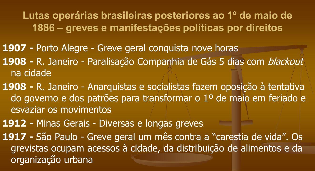 Lutas operárias brasileiras posteriores ao 1º de maio de 1886 – greves e manifestações políticas por direitos 1907 - Porto Alegre - Greve geral conquista nove horas 1908 - R.