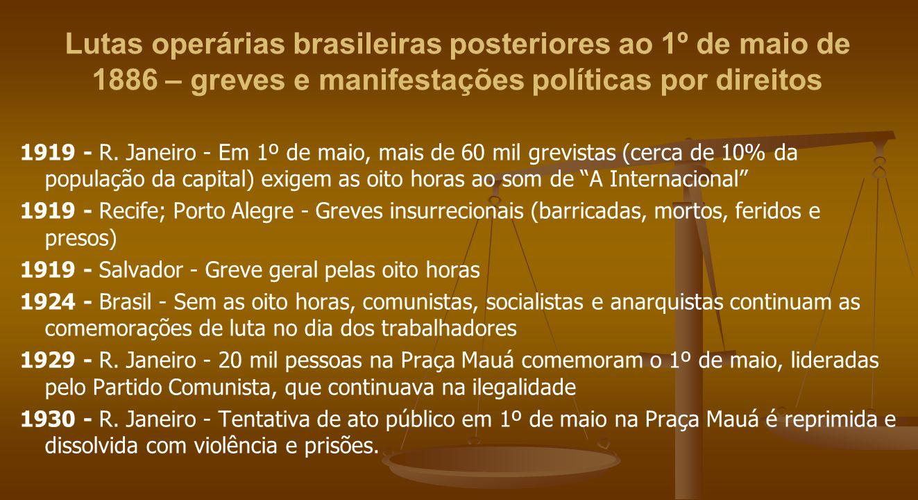 Lutas operárias brasileiras posteriores ao 1º de maio de 1886 – greves e manifestações políticas por direitos 1919 - R. Janeiro - Em 1º de maio, mais