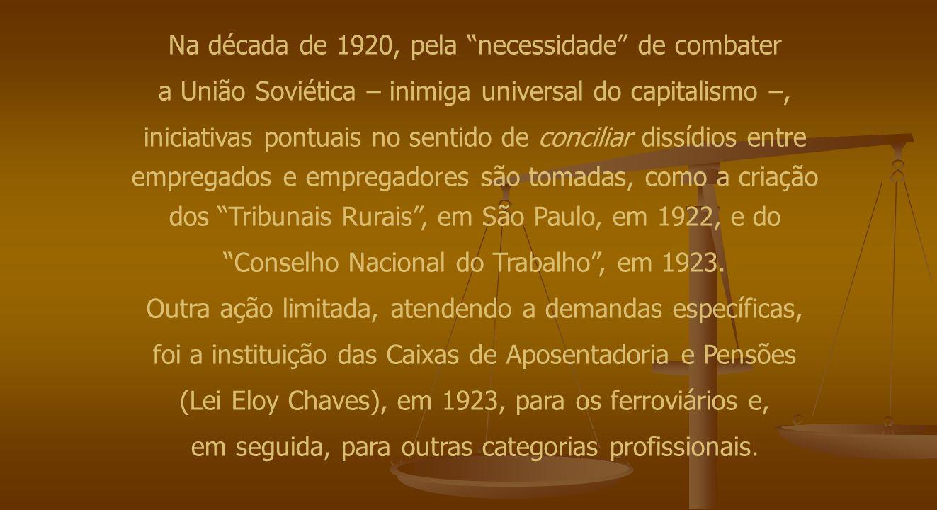 """Na década de 1920, pela """"necessidade"""" de combater a União Soviética – inimiga universal do capitalismo –, iniciativas pontuais no sentido de conciliar"""
