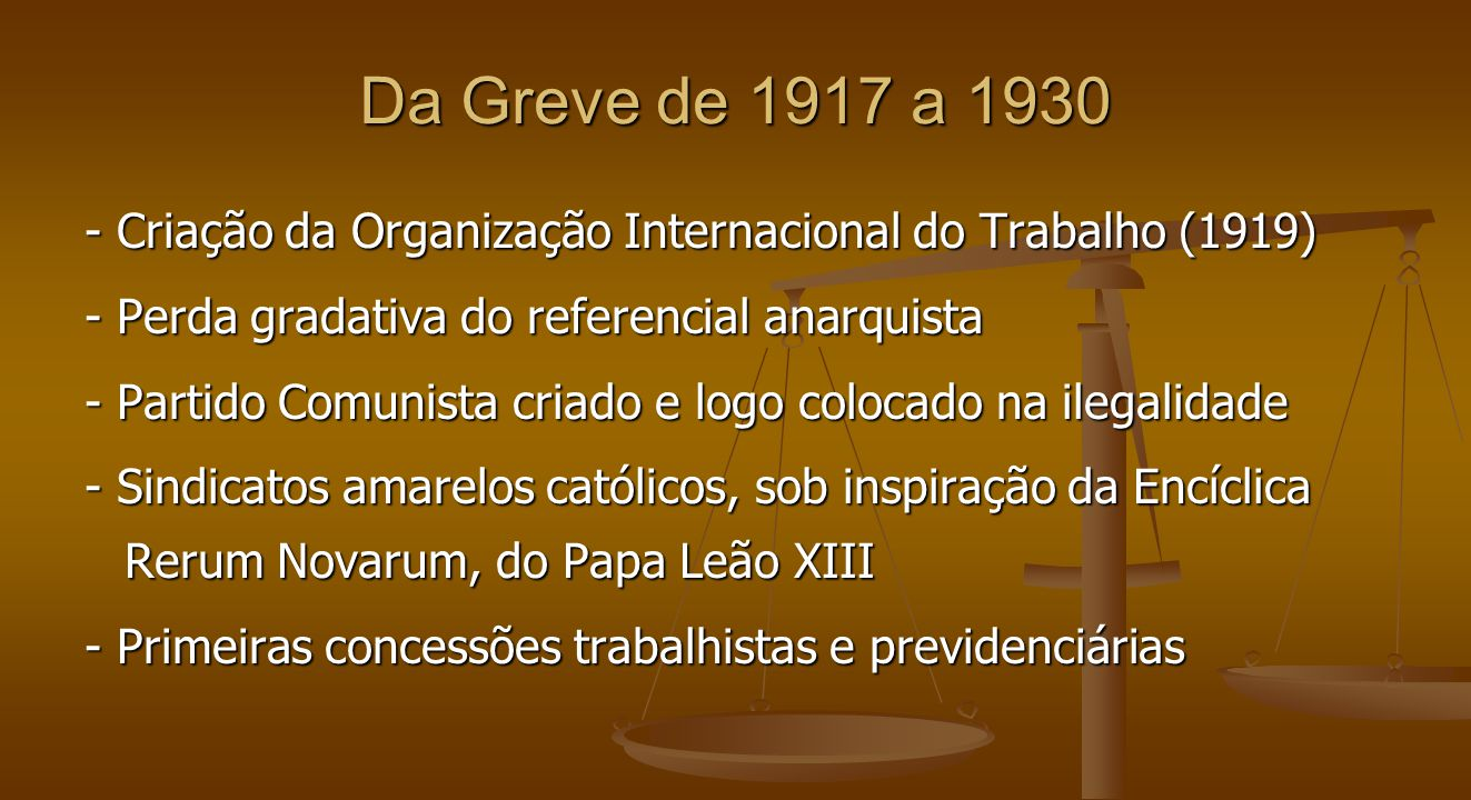 - Criação da Organização Internacional do Trabalho (1919) - Perda gradativa do referencial anarquista - Partido Comunista criado e logo colocado na il