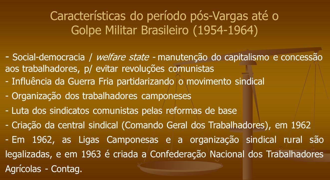 Características do período pós-Vargas até o Golpe Militar Brasileiro (1954-1964) - Social-democracia / welfare state - manutenção do capitalismo e con