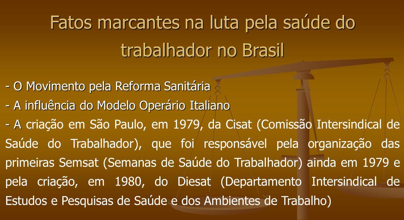 Fatos marcantes na luta pela saúde do trabalhador no Brasil - O Movimento pela Reforma Sanitária - A influência do Modelo Operário Italiano - A - A cr