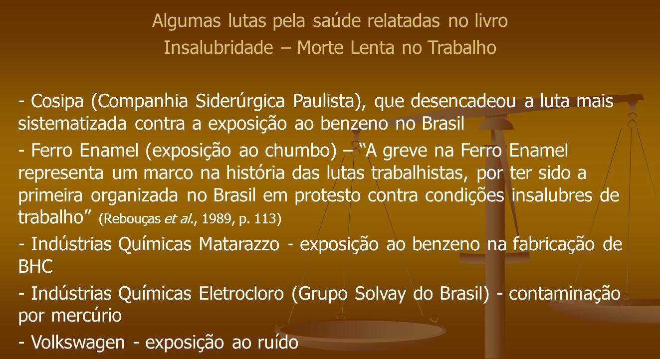 Algumas lutas pela saúde relatadas no livro Insalubridade – Morte Lenta no Trabalho - Cosipa (Companhia Siderúrgica Paulista), que desencadeou a luta mais sistematizada contra a exposição ao benzeno no Brasil - Ferro Enamel (exposição ao chumbo) – A greve na Ferro Enamel representa um marco na história das lutas trabalhistas, por ter sido a primeira organizada no Brasil em protesto contra condições insalubres de trabalho (Rebouças et al., 1989, p.
