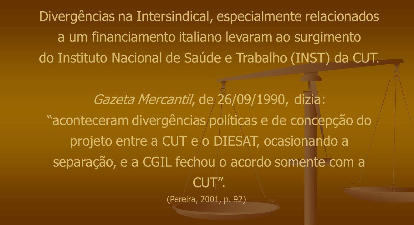 Divergências na Intersindical, especialmente relacionados a um financiamento italiano levaram ao surgimento do Instituto Nacional de Saúde e Trabalho (INST) da CUT.