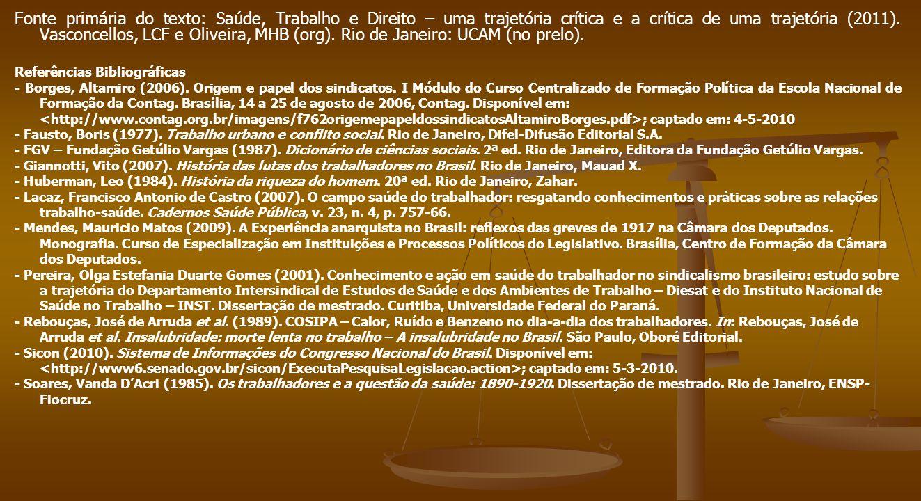 Fonte primária do texto: Saúde, Trabalho e Direito – uma trajetória crítica e a crítica de uma trajetória (2011). Vasconcellos, LCF e Oliveira, MHB (o