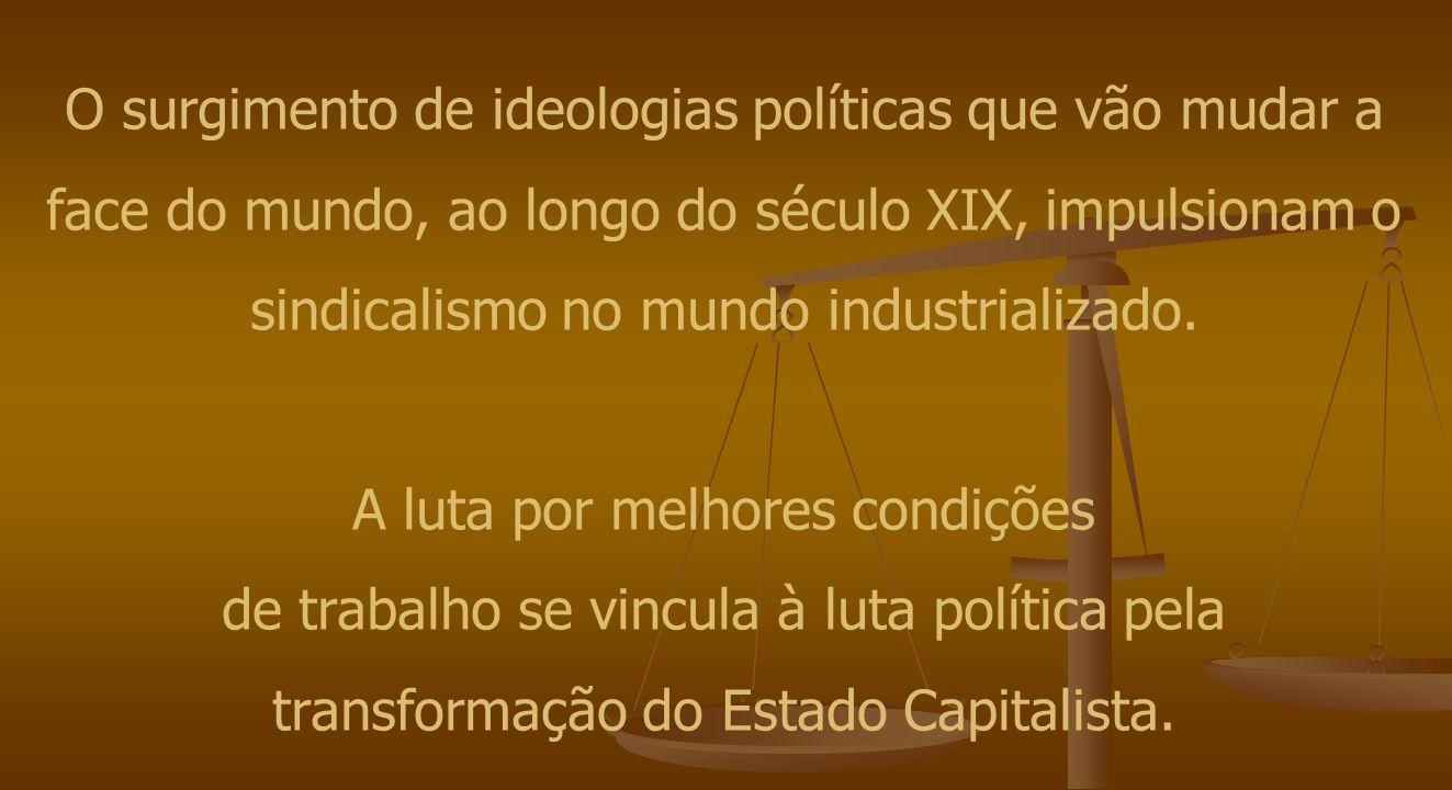 O surgimento de ideologias políticas que vão mudar a face do mundo, ao longo do século XIX, impulsionam o sindicalismo no mundo industrializado.