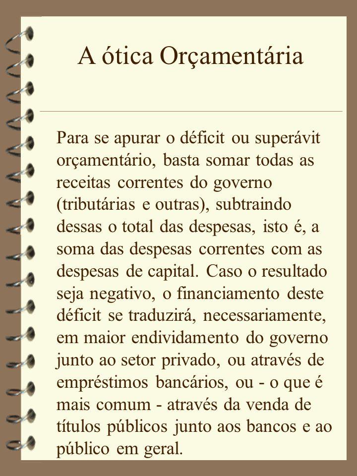 A ótica Orçamentária Para se apurar o déficit ou superávit orçamentário, basta somar todas as receitas correntes do governo (tributárias e outras), su