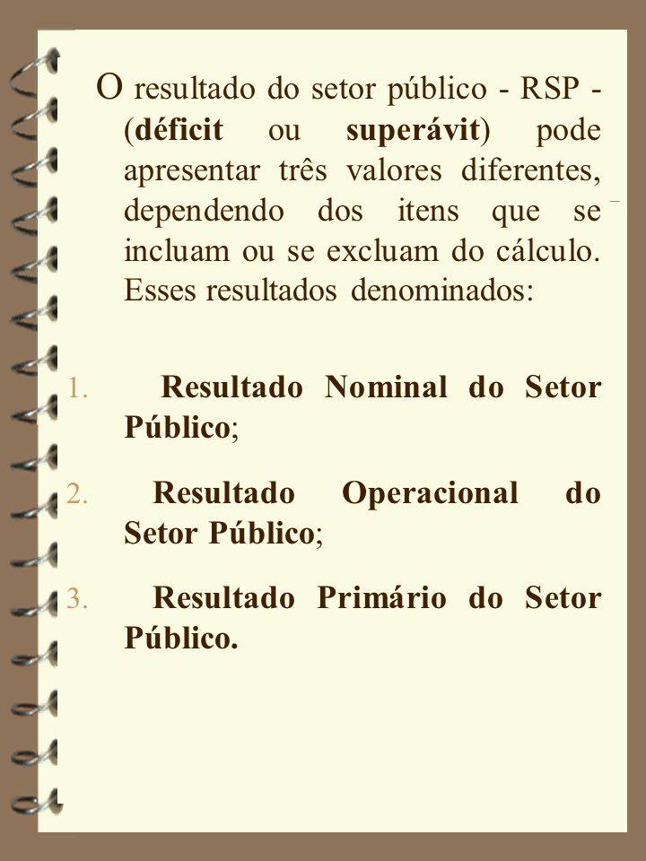O resultado do setor público - RSP - (déficit ou superávit) pode apresentar três valores diferentes, dependendo dos itens que se incluam ou se excluam