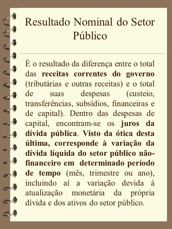 Resultado Nominal do Setor Público É o resultado da diferença entre o total das receitas correntes do governo (tributárias e outras receitas) e o tota